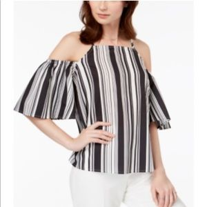 Black and White Striped Off the Shoulder Top